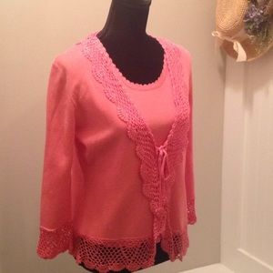 2pc Coral knit cardigan with crochet